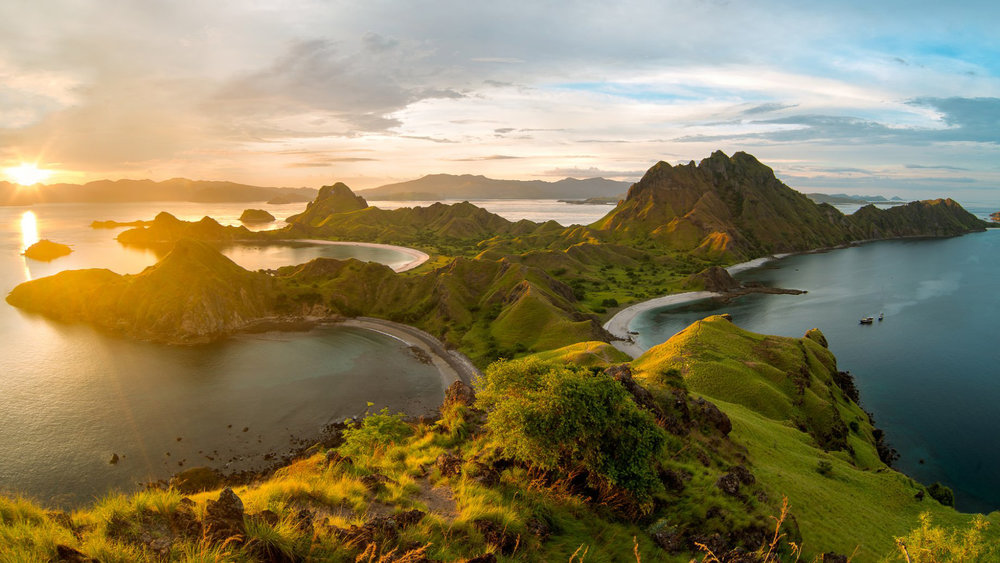 A view of Padar island beautiful hills when sunset