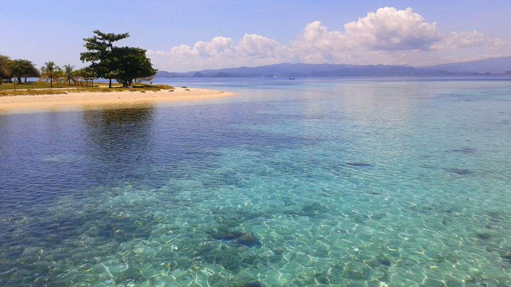 The beautiful sea around the Kanawa island