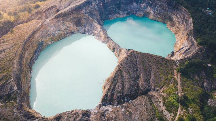Kelimutu lake on the crater of the mountain