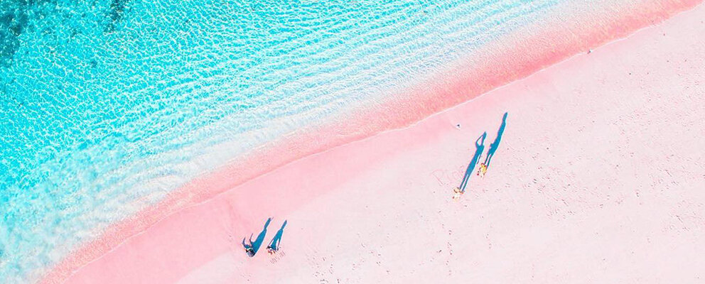 Beautiful view of Pink beach from the sky