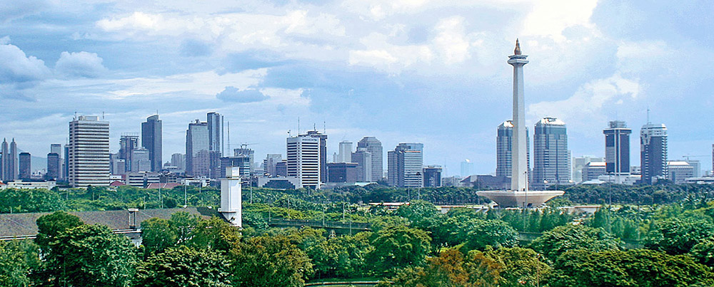 A panoramic view of Monas area in Jakarta