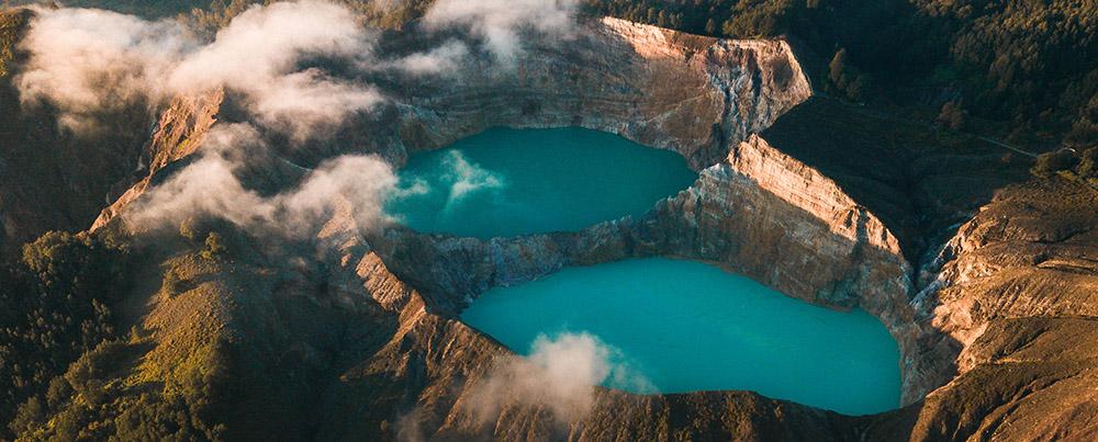 Sky view of the Kelimutu lake
