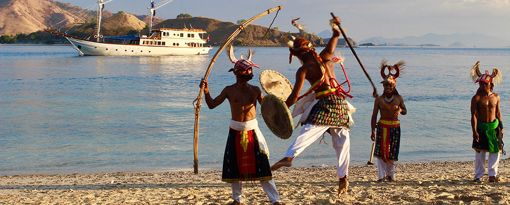 People of Flores performing Caci dance