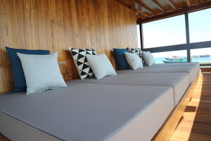 The deck of Andamari liveaboard is a perfect place to relax with its outdoor bed
