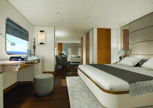 The cabin in Aqua Blu liveaboard is complete with en-suite bathroom
