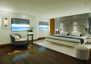 The main bedroom in Aqua Blu liveaboard offers a hotel-like facilities