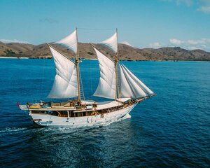 The incredible Tanaka liveaboard traveling in the sea on a sunny day