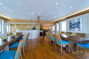 Dinner on Salila liveaboard in this huge dining room