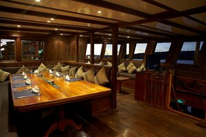 A cozy lounge inside Damai I liveaboard