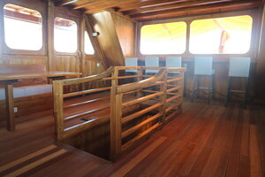 Stairs leading to the cabin area from the deck of Andamari liveaboard