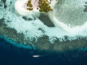 A beautiful view of island shore with Tanaka liveaboard sailing nearby