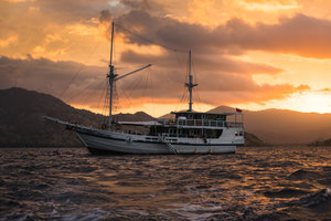Gorgeous looking sunset can be seen from Royal Fortuna liveaboard in the middle of the seas