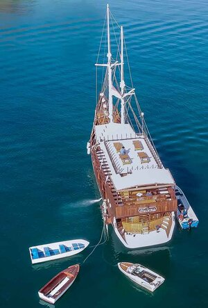 Aerial view of Helena liveaboard in the sea