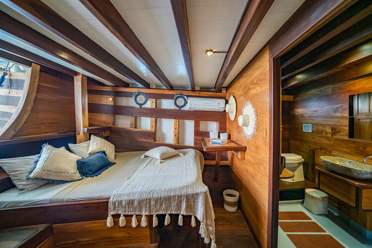 The bedroom in Jakare boat has a private bathroom and a comfortable bed