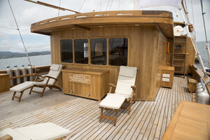 The main deck in Leyla liveaboard is made for relaxing