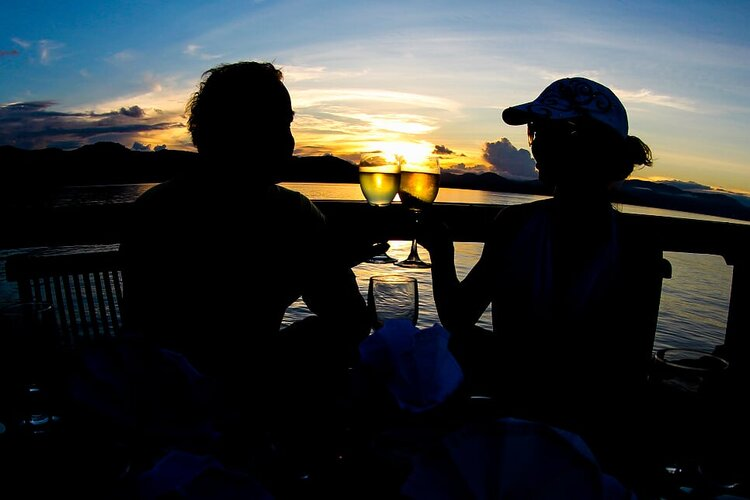 Watch as the sun goes down aboard the Damai I liveaboard