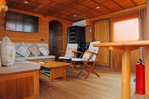 The living room on Leyla liveaboard giving the guests comfort