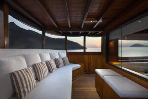 Comfortable long chairs for relaxing in Samata liveaboard