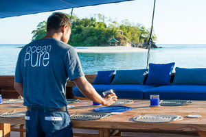 A perfect outdoor area Ocean Pure liveaboard for breakfast, lunch and dinner