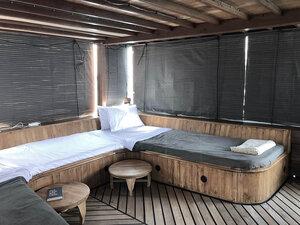 The main bedroom inside Splendour liveaboard