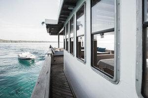 Port side of Splendour liveaboard is a nice spot for observing the seas
