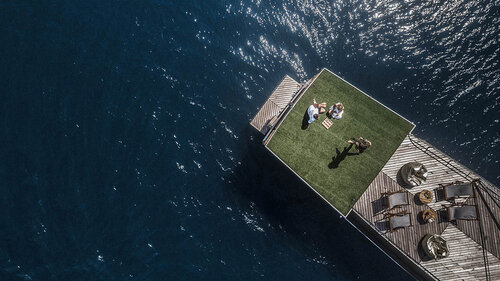 Aerial view of the grass area in the stern of Splendour liveaboard