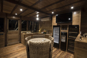 The simple kitchen room in Tiare liveaboard