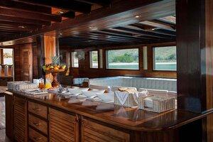 Dining area with a special menu in Samata liveaboard