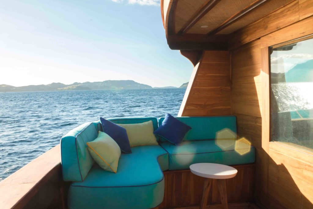 The balcony lounge from master cabin in Magia 2 liveaboard