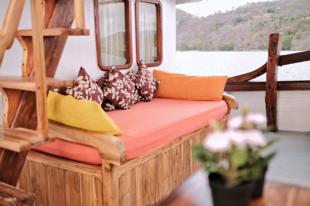 A comfortable couch on the SInar Pagi deck