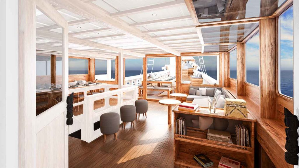 a comfort lounge to enjoy your journey with Aliikai liveaboard | Hello Flores