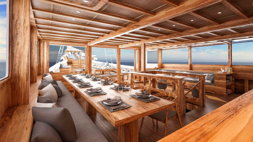 Spacious lounge for breakfast, lunch and dinner | Aliikai Liveboard | Hello Flores